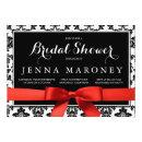 Black Damask with Red Ribbon Bridal Shower