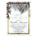 Black Palm Tree Fronds Gold Border Bridal Shower