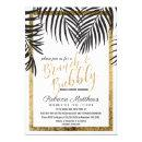 Black Palm Tree Fronds Gold Border Brunch Bubbly