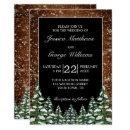 Black Snowy Wood & Forest Country Pine Wedding Invitation