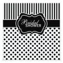 Black, White Polka Dot Stripe Bridal Shower Invite