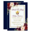 Blue Burgundy Floral Gold Bridal Tea Party Invite