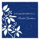 Blue Floral Bridal Luncheon Invitation