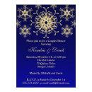 Blue, Gold Snowflakes Couples Shower Invite