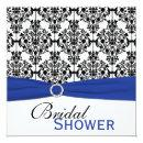 Blue, White, and Black Damask Bridal Shower Invite