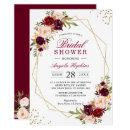 Blush Burgundy Floral Gold Frame Bridal Shower