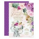 Blush Violet Tropical Greenery Elephant Baby