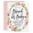 Bohemian Feathers Floral Wreath Baby Shower Brunch Invitation