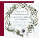 Bridal Shower Burgundy Anemone Olive Leaf Wreath