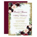 Bridal Shower Burgundy Blue Gold Glitter Invite