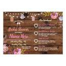 Bridal Shower Floral Jars Pink Itinerary Wood