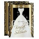Bridal Shower in Black Damask & Metallic Gold Invitations