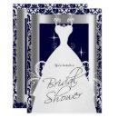 Bridal Shower in Navy Blue 2 Damask and Silver