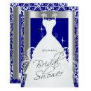Bridal Shower in Royal Blue Damask and Silver Invitations
