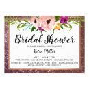 Bridal Shower Invite Flower Crown Glitter DarkPlum
