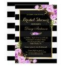 Bridal Shower Purple Floral Gold Frame Stripes