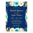 Bridal Shower Romantic Navy Blue Teal Gold Floral