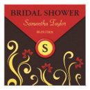 Brown Red and Yellow Swirls Bridal Shower Invites