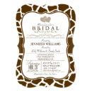 Brown, White Giraffe Animal Print Bridal Shower