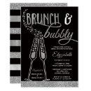 Brunch & Bubbly Bridal Shower Invite, Faux Silver