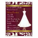 Burgundy and White Damask Bridal Shower Invitations