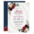 Burgundy Blue Floral Gold Geometric Bridal Shower