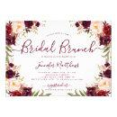 Burgundy Blush Floral Elegant Script Bridal Brunch