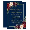 Burgundy Floral Blue Gold Bridal Shower Invite