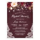 Burgundy Floral String Lights Lace Bridal Shower