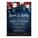Burgundy Navy Floral String Light Brunch & Bubbly
