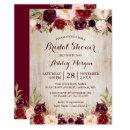 Burgundy Red Floral Rustic County Bridal Shower Invitation