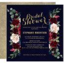 Burgundy Red Navy Floral Rustic Boho Bridal Shower