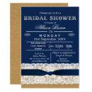 Burlap , lace,blue rustic bridal shower Invites