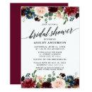 Calligraphy Burgundy Blue Floral Bridal Shower