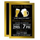 Cheers & Beers Black & Gold Bachelor Party Invitation