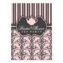 Chic Damask & Stripe Bridal Shower Tea Invitations