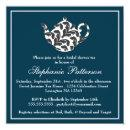 Chic Navy & White w Damask Bridal Shower Tea Party Invitations