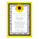 Chic Sunflower Recipe Bridal Shower Invitations