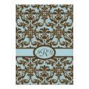 Chocolate Brown & Blue Damask Invitations