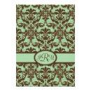 Chocolate Brown & Mint Green Damask Invitations