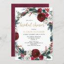 Christmas bridal shower burgundy gold elegant