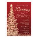 Christmas Couples Shower Red Gold Invitation