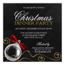 Christmas Ornament Red Bow Dinner Party Invitation