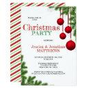 CHRISTMAS PARTY Red White Ornament Pine Snow Invitation