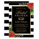 Christmas Poinsettia Floral Striped Bridal Shower