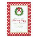 Christmas Wreath, Red Polka Dot Holiday Invitations