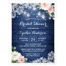 Classic Blue Mason Jar Lights Floral Bridal Shower