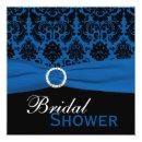 Cobalt Blue and Black Damask Bridal Shower Invite