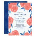 Coral Navy Blue Watercolor Flowers Bridal Shower