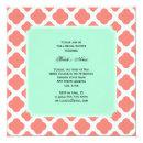 Coral Pink Quatrefoil and Mint Green